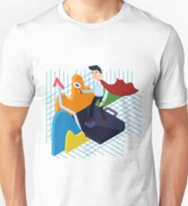 Business Analysis Isometric Concept with Super Businessman and Charts Unisex T-Shirt