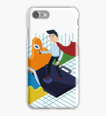 Business Analysis Isometric Concept with Super Businessman and Charts iPhone Case/Skin