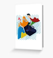 Business Analysis Isometric Concept with Super Businessman and Charts Greeting Card