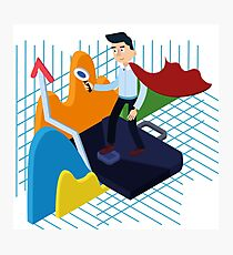 Business Analysis Isometric Concept with Super Businessman and Charts Photographic Print