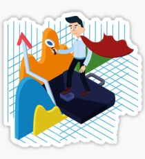 Business Analysis Isometric Concept with Super Businessman and Charts Sticker