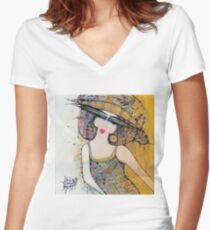 THE LADY WITH A HAT Women's Fitted V-Neck T-Shirt