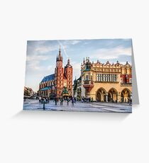 Cracow Main Square art Greeting Card