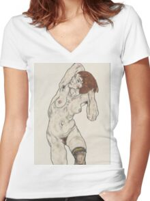 Egon Schiele - Standing Nude In Black Stockings Women's Fitted V-Neck T-Shirt