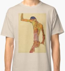 Egon Schiele - Standing Male Nude With Arm Raised, Back View Classic T-Shirt