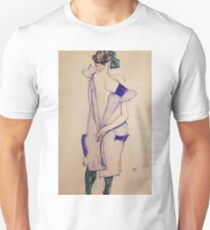 Egon Schiele - Standing Girl In A Blue Dress And Green Stockings Back View 1913 Unisex T-Shirt
