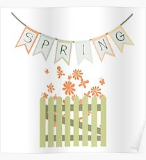 Wooden fence and flowers Poster