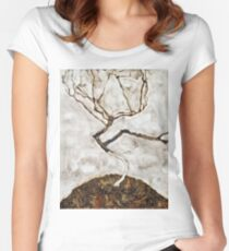 Egon Schiele - Small Tree In Late Autumn (1911) Women's Fitted Scoop T-Shirt