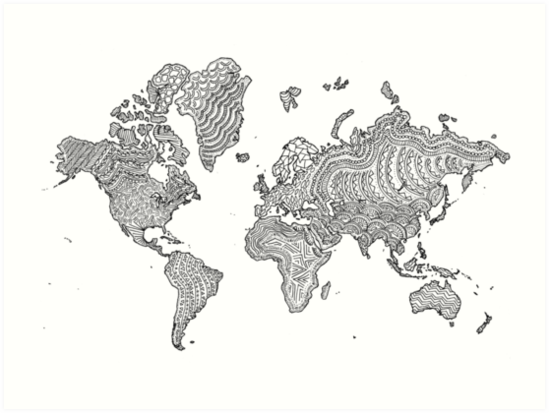 Illustrated World Map Art Prints by sarahwormann Redbubble