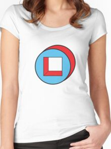 Blue Square / Red Circle Women's Fitted Scoop T-Shirt