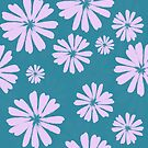 Brushstroke Daisies in Teal by lollylocket