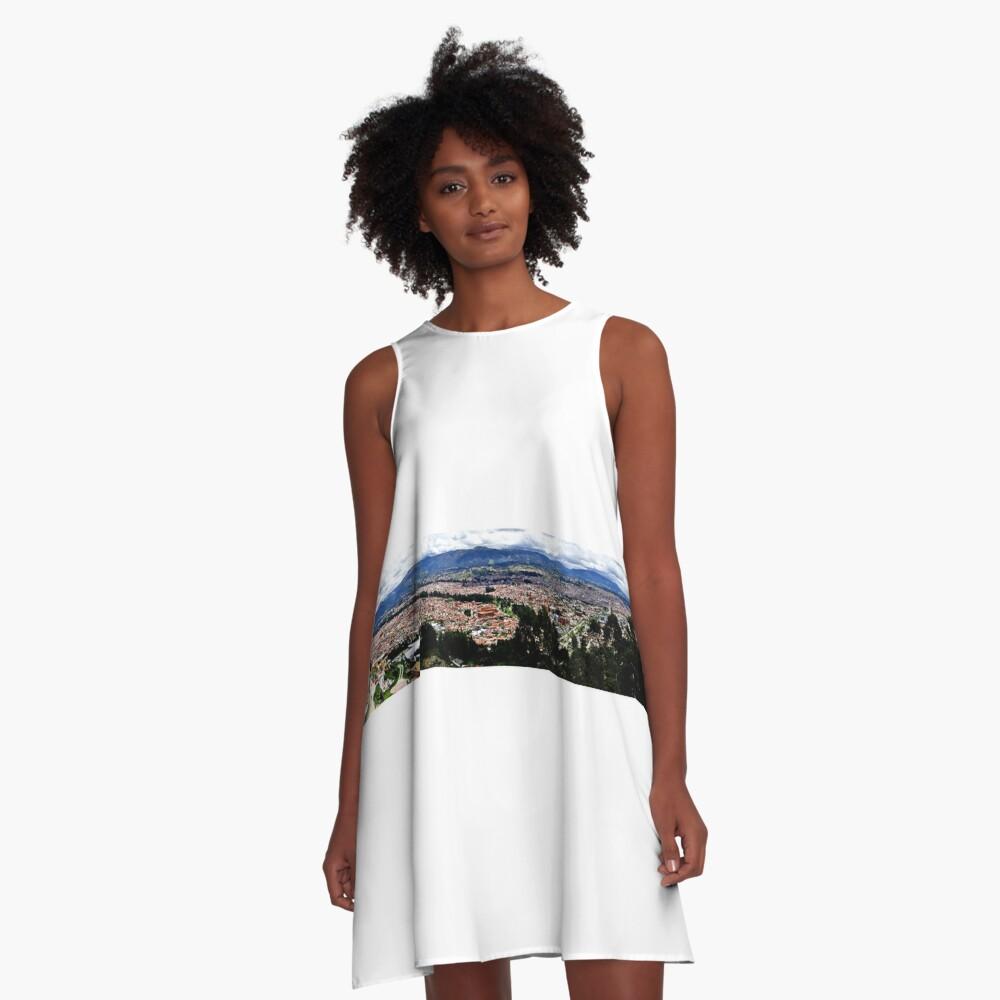 Turi and Cuenca Ecuador Panorama A-Line Dress Front