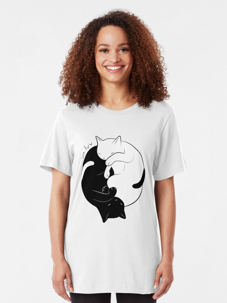 Vista alternativa de Camiseta ajustada Eternal Cat Love