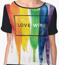 Watercolor LGBT Love Wins Rainbow Paint Typographic Chiffon Top