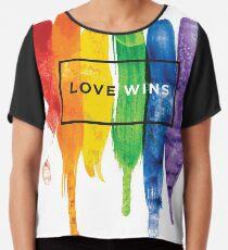 Watercolor LGBT Love Wins Rainbow Paint Typographic Chiffon Top