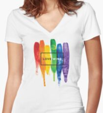 Watercolor LGBT Love Wins Rainbow Paint Typographic Women's Fitted V-Neck T-Shirt