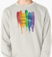 Watercolor LGBT Love Wins Rainbow Paint Typographic Pullover