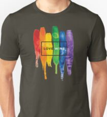 Watercolor LGBT Love Wins Rainbow Paint Typographic Unisex T-Shirt