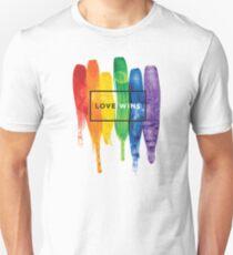 Camiseta ajustada Acuarela LGBT Love gana tipografía Rainbow Paint tipográfico