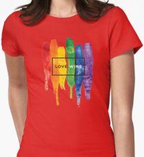 Watercolor LGBT Love Wins Rainbow Paint Typographic T-Shirt