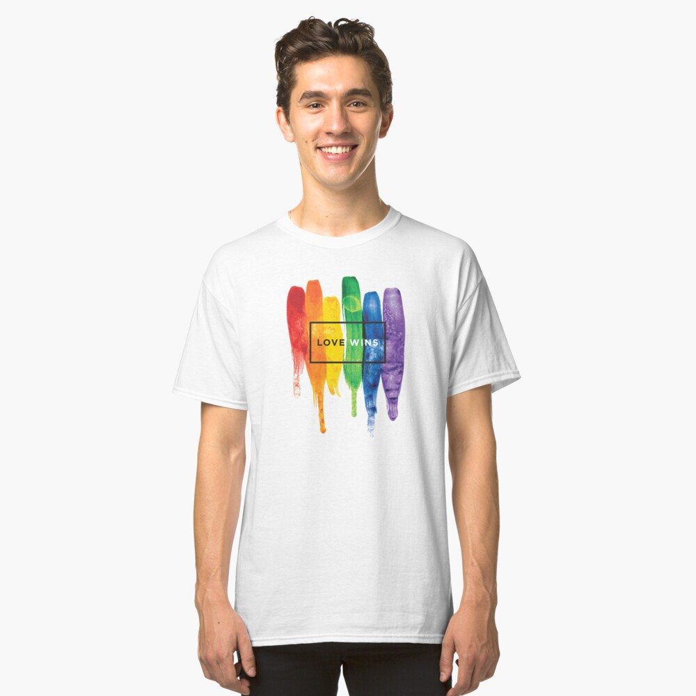 Watercolor LGBT Love Wins Rainbow Paint Typographic Classic T-Shirt Front