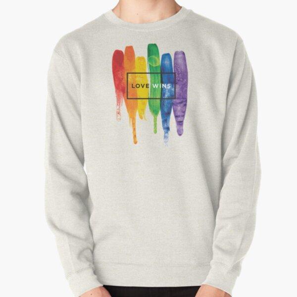 Watercolor LGBT Love Wins Rainbow Paint Typographic Pullover Sweatshirt