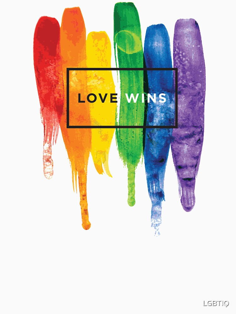 Watercolor LGBT Love Wins Rainbow Paint Typographic | Unisex T-Shirt