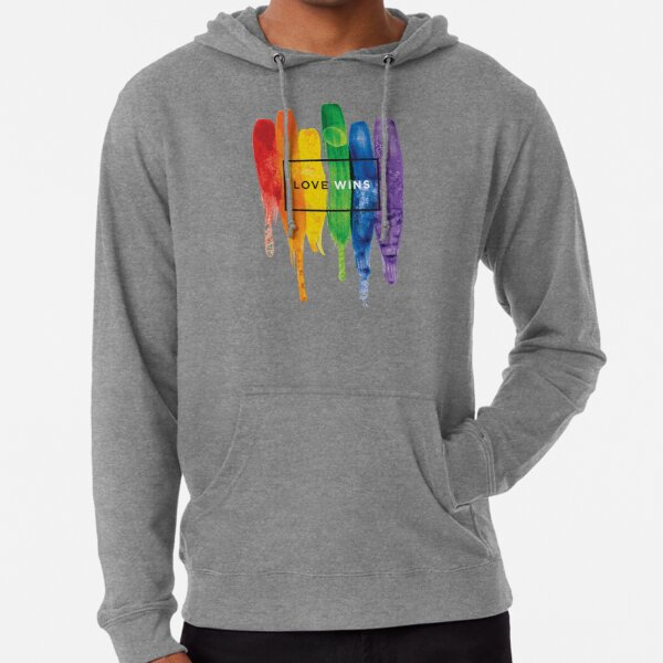 Watercolor LGBT Love Wins Rainbow Paint Typographic Lightweight Hoodie