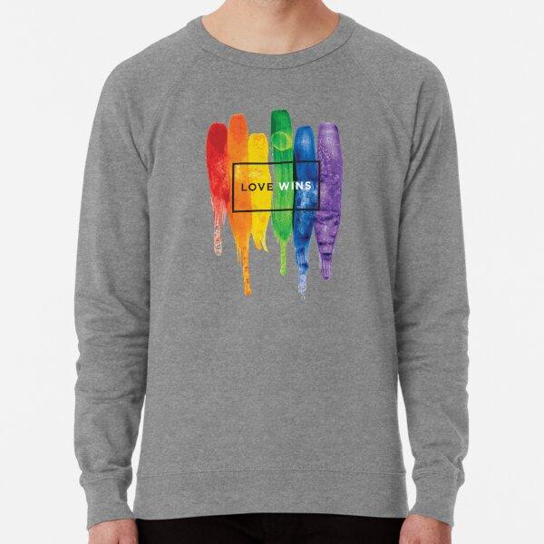 Watercolor LGBT Love Wins Rainbow Paint Typographic Lightweight Sweatshirt