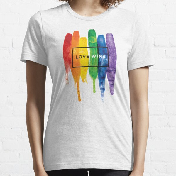 Watercolor LGBT Love Wins Rainbow Paint Typographic Essential T-Shirt