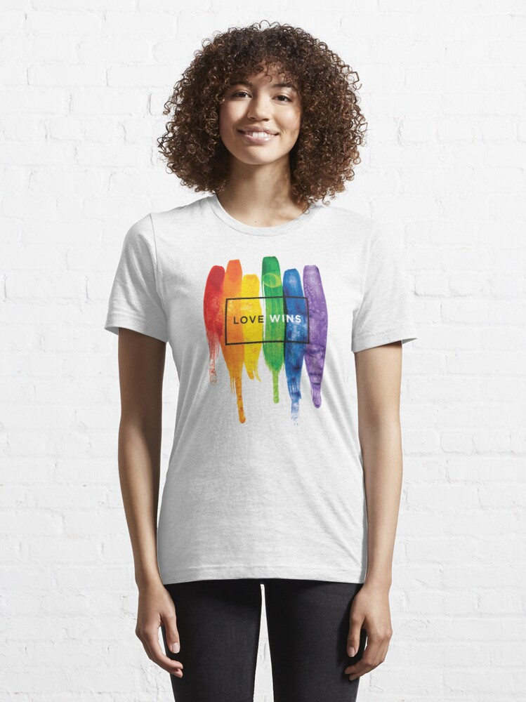 Alternate view of Watercolor LGBT Love Wins Rainbow Paint Typographic Essential T-Shirt