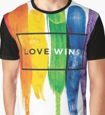 Watercolor LGBT Love Wins Rainbow Paint Typographic Graphic T-Shirt