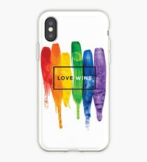 Watercolor LGBT Love Wins Rainbow Paint Typographic iPhone Case