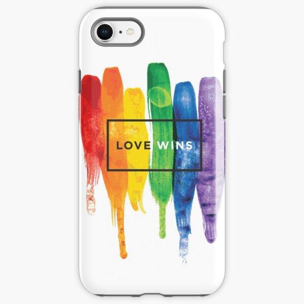Watercolor LGBT Love Wins Rainbow Paint Typographic iPhone Tough Case