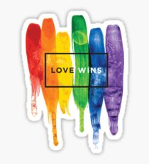 Watercolor LGBT Love Wins Rainbow Paint Typographic Sticker