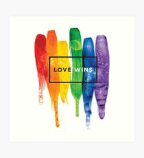 Watercolor LGBT Love Wins Rainbow Paint Typographic Art Print