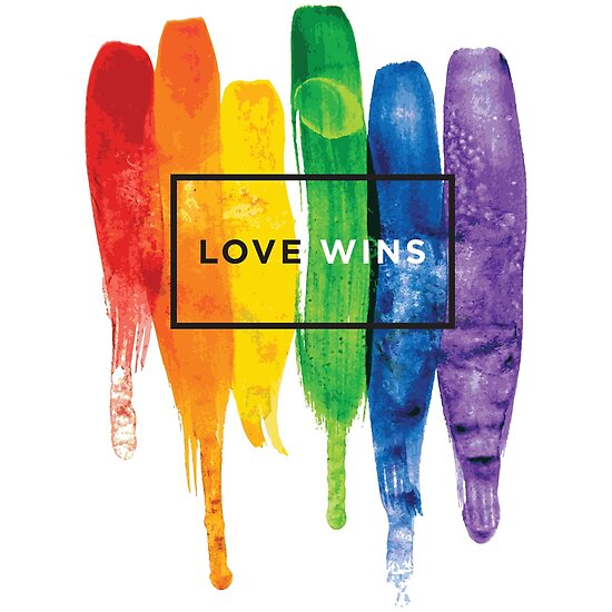 Aquarell LGBT Liebe gewinnt Regenbogen-Farbe typografisch von LGBTIQ