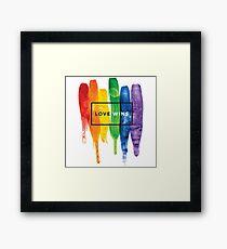 Aquarell LGBT Liebe gewinnt Regenbogen-Farbe typografisch Gerahmtes Wandbild