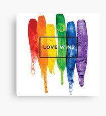 Watercolor LGBT Love Wins Rainbow Paint Typographic Canvas Print