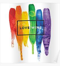 Aquarell LGBT Liebe gewinnt Regenbogen-Farbe typografisch Poster