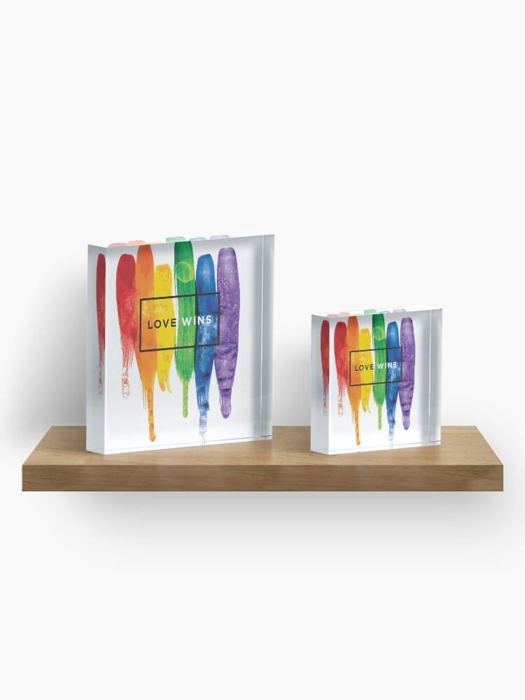 Alternate view of Watercolor LGBT Love Wins Rainbow Paint Typographic Acrylic Block