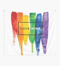 Watercolor LGBT Love Wins Rainbow Paint Typographic Wall Tapestry