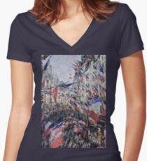 Claude Monet - The Rue Saint - Denis, Celebration Of June 30, 1878 Women's Fitted V-Neck T-Shirt