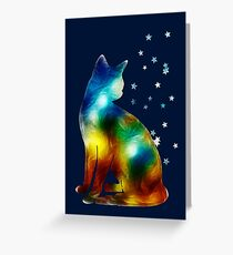 Galactic Space Cat On Milky Way, Cat, Space, Galaxy Greeting Card