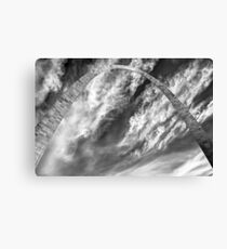 Saint Louis Gateway Arch and Clouds - Black and White Canvas Print