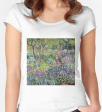 Claude Monet - The Artist S Garden In Giverny 1900 Women's Fitted Scoop T-Shirt