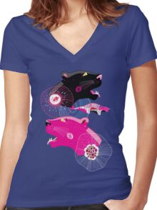 Fashionable pattern with panther heads Women's Fitted V-Neck T-Shirt