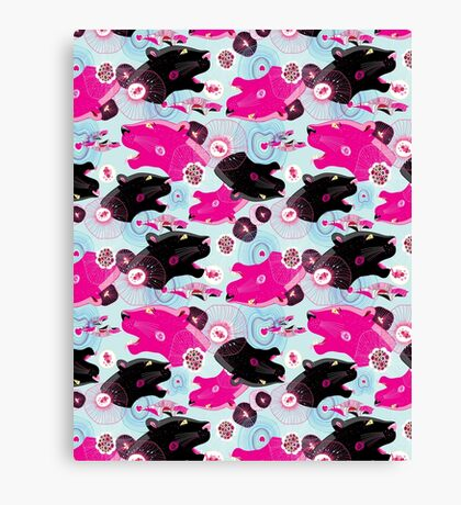 Fashionable pattern with panther heads Canvas Print