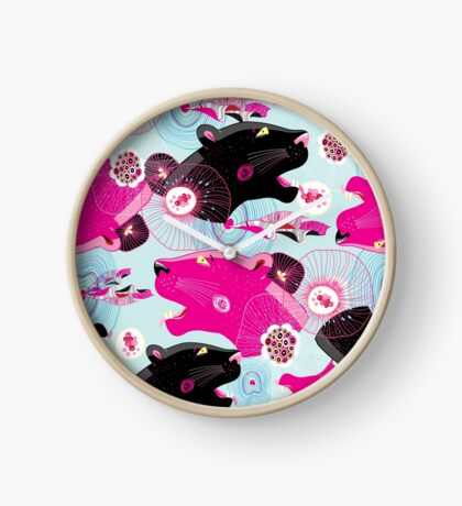 Fashionable pattern with panther heads Clock