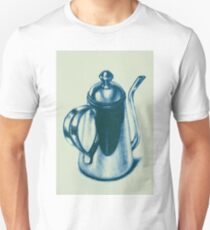Metallic, shiny, glossy drawing of teapot isolated on white background. Unisex T-Shirt